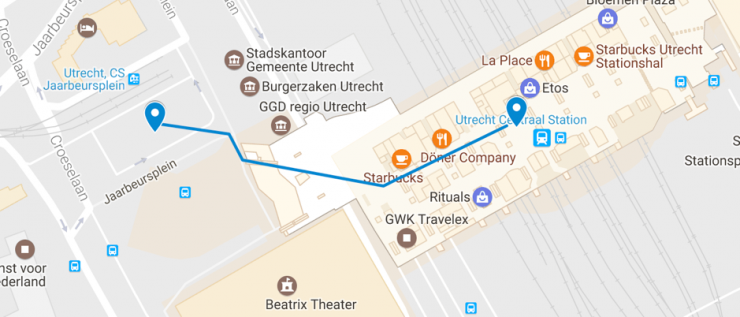route CS to bus station
